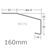 160mm Aluminium Window Sill Extensions WEC 751 (with full end caps - pair) - 2.5m Length.