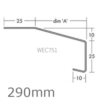 290mm Aluminium Window Sill Extensions WEC 751 (with full end caps - pair) - 2.5m Length.