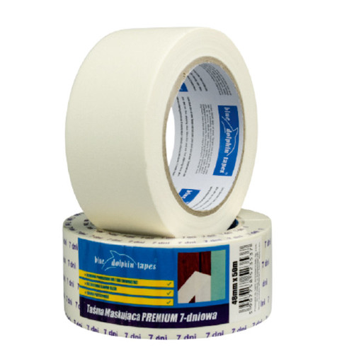 38mm 7-day Paper Masking Tape Blue Dolphin - 50m roll