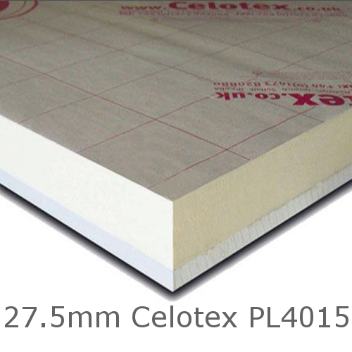 27.5mm Celotex PL4015 - 15mm PIR  Insulation Bonded to 12.5mm Plasterboard (PL4000)