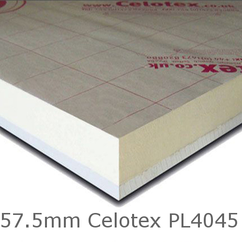 57.5mm Celotex PL4045 - 45mm PIR  Insulation Bonded to 12.5mm Plasterboard (PL4000)
