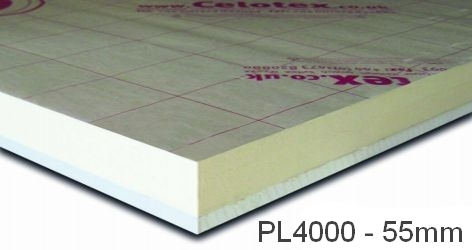 55mm Celotex PL4000 - PIR  Insulation Bonded to Plasterboard  (PL4055)