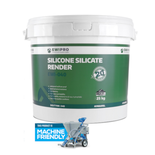 EWI-040 Silicone Silicate Render - 25kg Tub - Various Colours