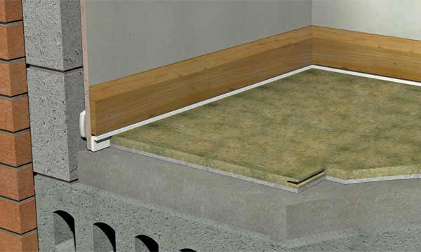 Isocheck 14c concrete floor acoustic board acoustic for Concrete floor insulation