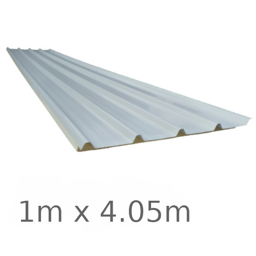 30mm Ecopanel - Composite Roof Panel with PIR Core - Polyester Coated Steel Facing - 1m x 4.05m