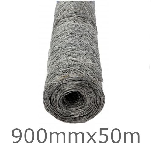 900mm Galvanised Hex Mesh For Supporting Insulation - 50m roll