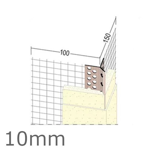 10mm Mesh Wing PVC Corner Profile with Extended Arris - 100x150mm Wings - 2.5m length (pack of 25).