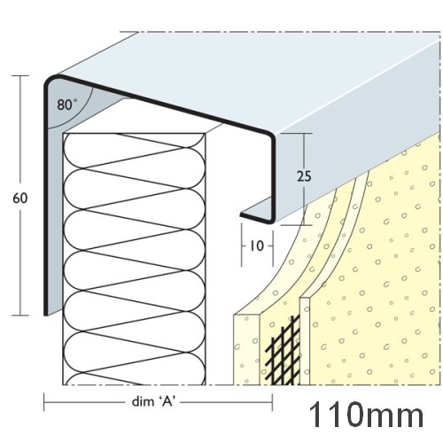 110mm Soffit Flashing and Window Sill Extensions (with full end caps-pair) - 2.5m Length.