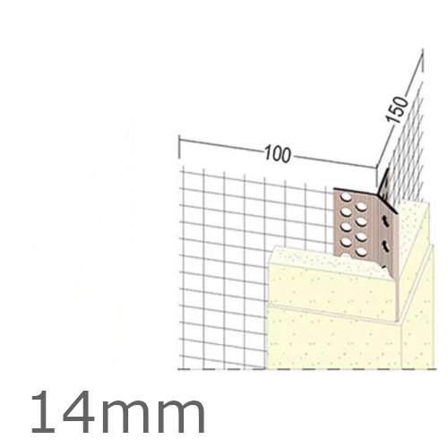 14mm Mesh Wing PVC Corner Profile with Extended Arris - 100x150mm Wings - 2.5m length (pack of 25).