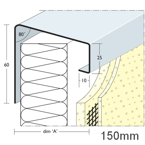 150mm Soffit Flashing and Window Sill Extensions (with full end caps-pair) - 2.5m Length.
