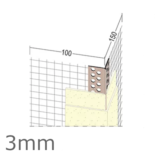 3mm Mesh Wing PVC Corner Profile with Extended Arris - 100x150mm Wings - 2.5m length (pack of 50).