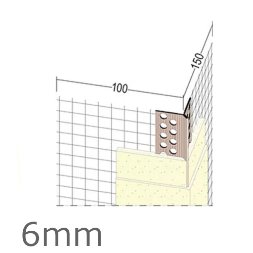 6mm Mesh Wing PVC Corner Profile with Extended Arris - 100x150mm Wings - 2.5m length (pack of 50).