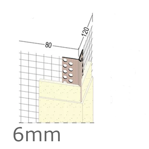 6mm Mesh Wing PVC Corner Profile with Extended Arris - 80x120mm Wings - 2.5m length (pack of 50).