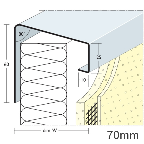 70mm Soffit Flashing and Window Sill Extensions (with full end caps-pair) - 2.5m Length.
