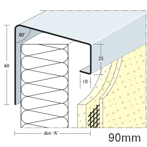 90mm Soffit Flashing and Window Sill Extensions (with full end caps-pair) - 2.5m Length.