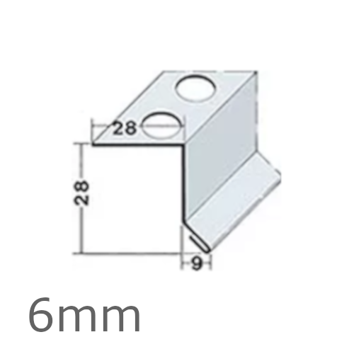 6mm Aluminium Full System Horizontal Joint Angle (pack of 10).