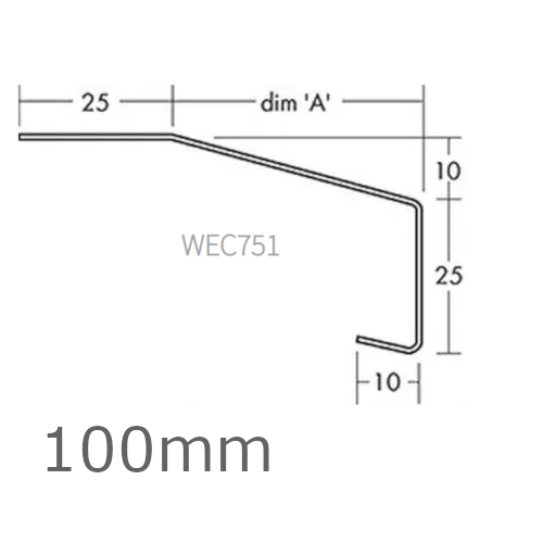 100mm Aluminium Window Sill Extensions WEC 751 (with full end caps - pair) - 2.5m Length.