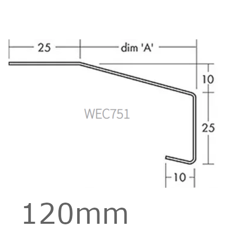 120mm Aluminium Window Sill Extensions WEC 751 (with full end caps - pair) - 2.5m Length.