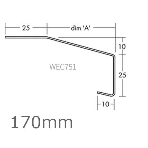 170mm Aluminium Window Sill Extensions WEC 751 (with full end caps - pair) - 2.5m Length.