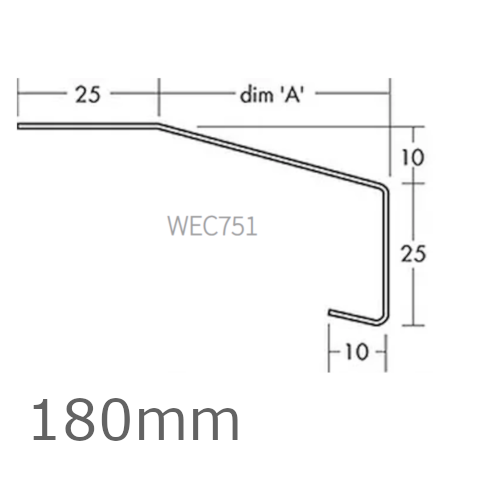 180mm Aluminium Window Sill Extensions WEC 751 (with full end caps - pair) - 2.5m Length.