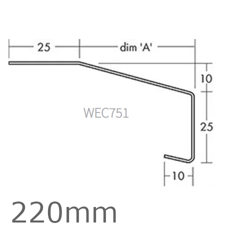 220mm Aluminium Window Sill Extensions WEC 751 (with full end caps - pair) - 2.5m Length.