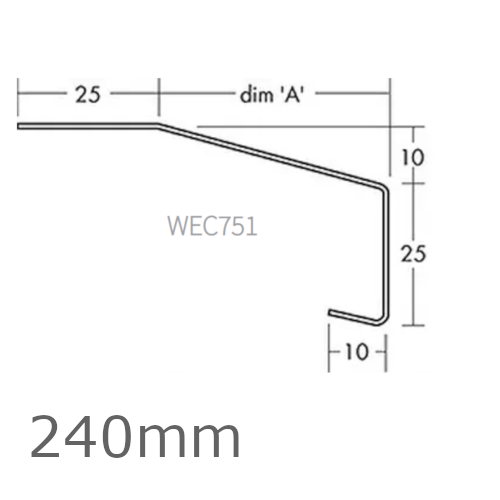 240mm Aluminium Window Sill Extensions WEC 751 (with full end caps - pair) - 2.5m Length.