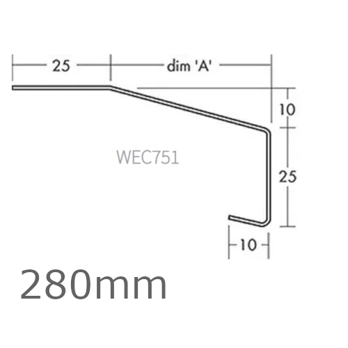 280mm Aluminium Window Sill Extensions WEC 751 (with full end caps - pair) - 2.5m Length.
