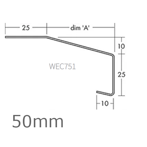 50mm Aluminium Window Sill Extensions WEC 751 (with full end caps - pair) - 2.5m Length.