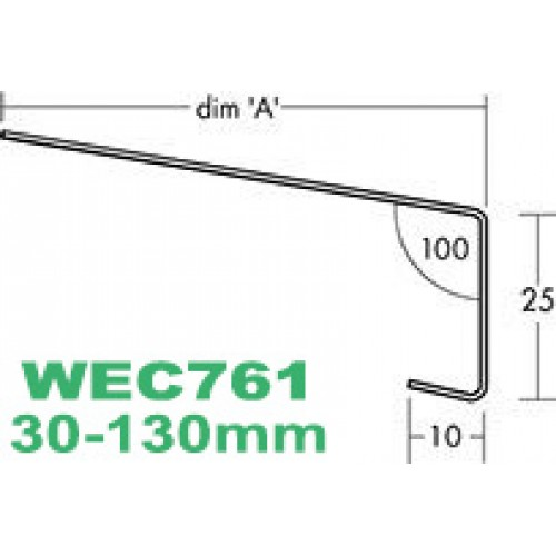 Custom Cut Oversill and Window Sill Flashing (with full end caps-pair) width from 30mm to 130mm - length up to 2.5m