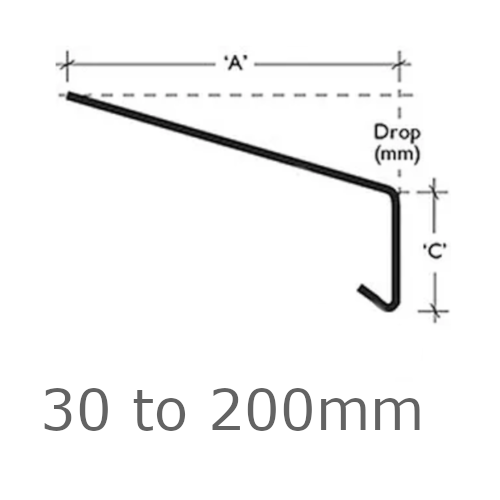 Custom Cut Oversill and Window Sill Flashing (with full end caps-pair) width from 30mm to 200mm - length up to 2.5m