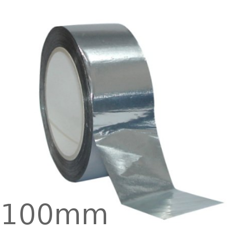 100mm Aluminium Self Adhesive Tape for Foil Faced Insulation - 45m roll