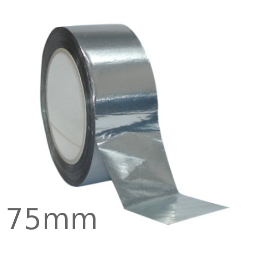 75mm Aluminium Self Adhesive Tape for Foil Faced Insulation - 45m roll